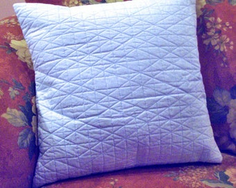 Light Blue Cotton Throw Pillow Cover