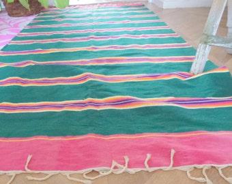 green pink woven carpet- traditional carper- bright colored carpet