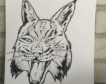 Original Lynx pen and ink illustration