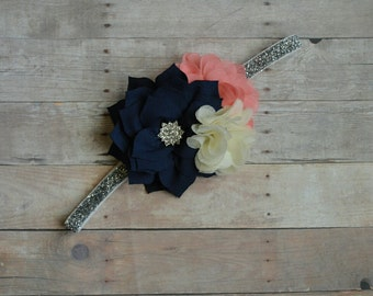 Navy Ivory Coral Chiffon Flower Headband Baby Toddler Headband Flower Girl New Years Glitter Lace Ostrich Feathers
