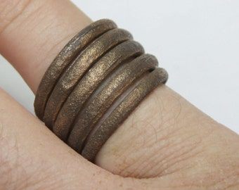 Ancient Viking Twisted Spiral Bronze Ring