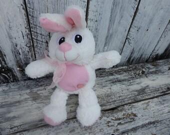 Vintage Fluffy Pink White Talking Easter Bunny Rabbit Stuffed Animal
