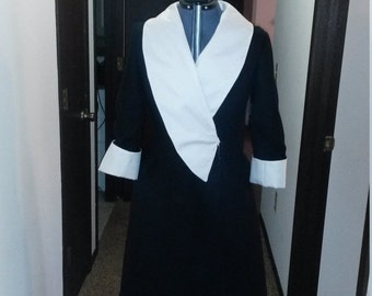 Happy Birthday Sale Black and White wool and gabardine designer inspired coat