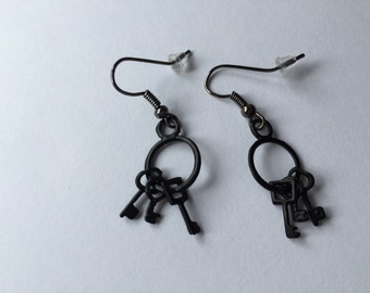Black skeleton key dangle earrings
