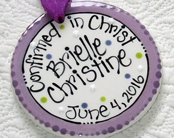 Personalized Confirmation Ornament in Purple 'Confirmed in Christ'