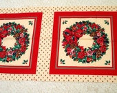 Christmas Wreath Pillow Fabric Panels, VIP screen print for Cranston Print Works Co., Two panels