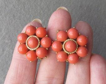 Trifari Imitation Coral Vintage Clip Earrings