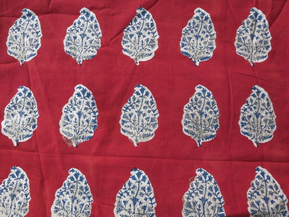 Leaf Wooden Stamp Print Indian Cotton Fabric Sold by Yard