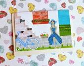 Retro Card - Blank Greeting Card - European Village Illustration - Girl Card - Bike Artwork - Sleeping Cats Picture - 'Always On A Sunday'