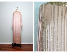 Vintage Rose Beaded Gown / Column Style Pink Silver and Gold Embellished Full Length Dress