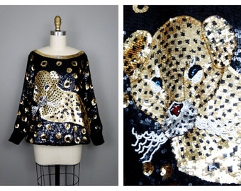 WILD Leopard Sequined Top // Spotted Black and Gold Animal Embellished Batwing Dolman Blouse O/S
