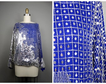 Vintage Glam Silver Beaded Blue Sequin Top by Judith Ann Creations Inc. // Royal Blue Sequin Top