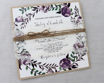 Rustic Boho Floral Wedding Invitation, Lace Wedding Invitation, Purple Wedding Invitation, Romantic Wedding Invitation, Bohemian wedding