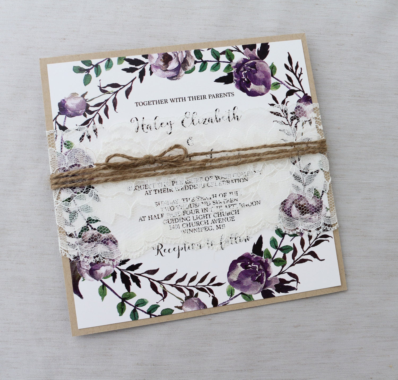 Bohemian Wedding Invitations: Rustic Boho Floral Wedding Invitation Lace Wedding