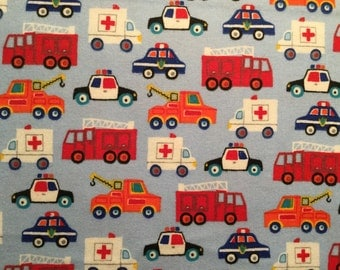 FLANNEL - Fire Truck Fabric - Emergency Vehicle Fabric - Police Car Fabric - Ambulance Fabric - Tow Truck Fabric