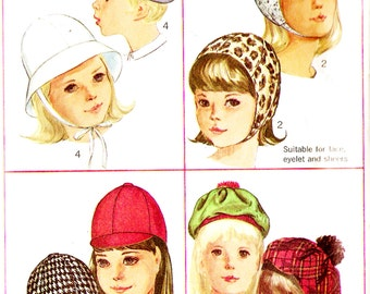 Simplicity 6274 Retro 1960s Girl's Set of Hats Sewing Pattern