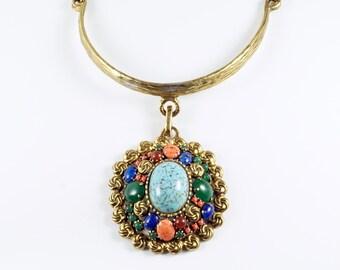 Statement Bib Necklace, Vintage Statement Jeweled Rhinestone Cabochon Medallion Pendant Bib Necklace