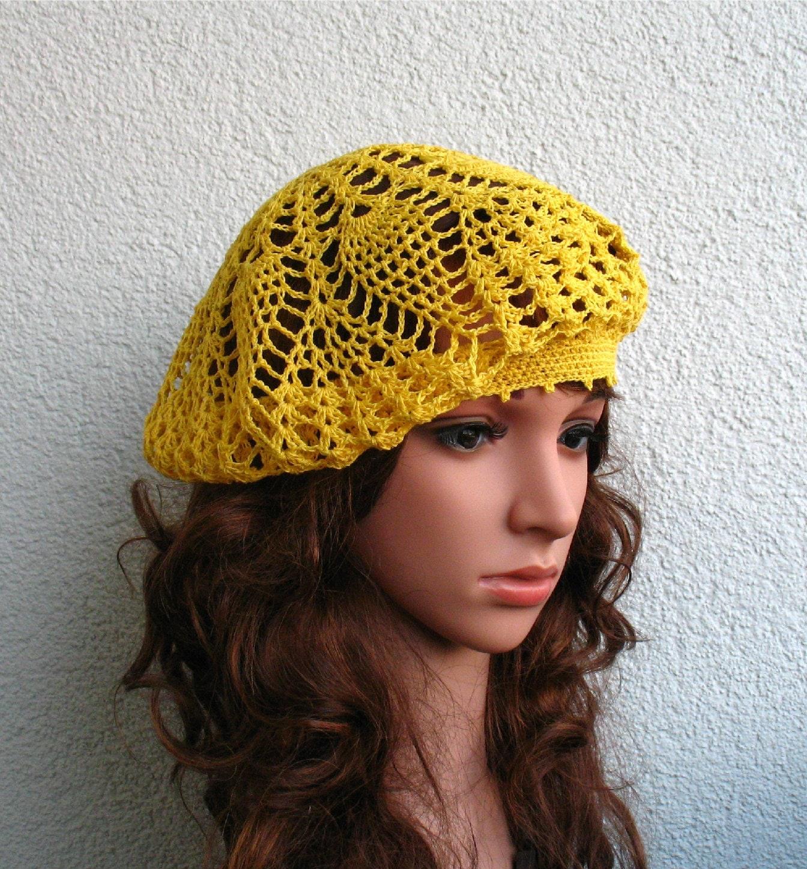 crochet summer beret womens hat yellow linen beret hat