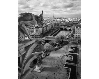 Black And White Paris Photography, Gargoyle Photograph,  Notre Dame Cathedral, Art Photography