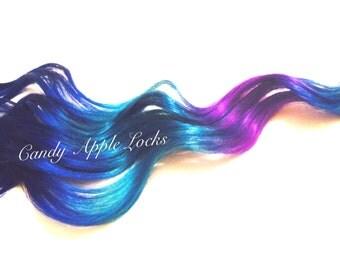 Blue Galaxy, Ombre Hair Extensions, Clip in Human Hair, Rainbow, Dip Dye, Blue Purple