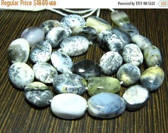 "BIG SALE Dentrite OPal Smooth Oval Nuggets- 14"" Strand -Stones measure- 8-11mm"