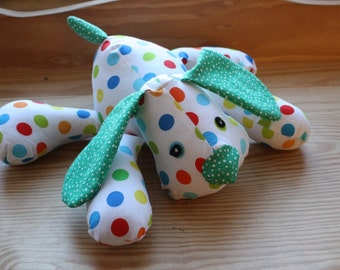 Stuffed Puppy - Handmade Adorable Snuggly Polka Dotted Stuffed Puppy