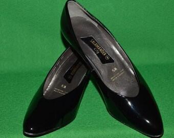 Vintage  Shoes Women's SALAMANDER CITY Black Patent Leather Shoes 1980s