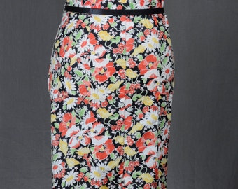 30s Black Floral Cotton Day Dress - Colorful Flowers - Great Size 20s