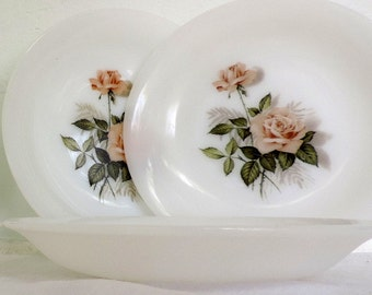 Arcopal, soup bowls, pink rose motif, set of 4