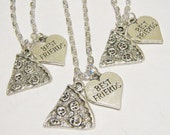 3 Pizza  Heart Best Friend Necklaces BFF SISTERS COUPLES