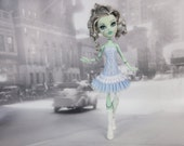 Light blue and white romantic corset & petticoat dress with leg warmers fits Monster High doll