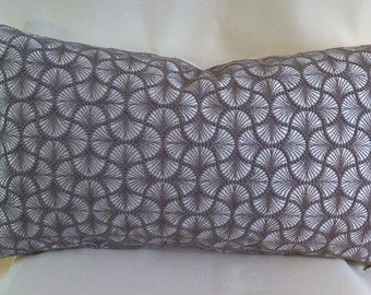 Single Lumbar Decorative Pillow Cover-Embroidered Geometric Design-Accent Kidney Pillow Cover-Free Shipping.