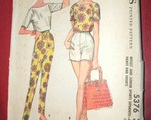 Vintage McCalls 5376 Sewing Pattern Size 14 Short Shorts Tapered Pants, and Boat Neck Top