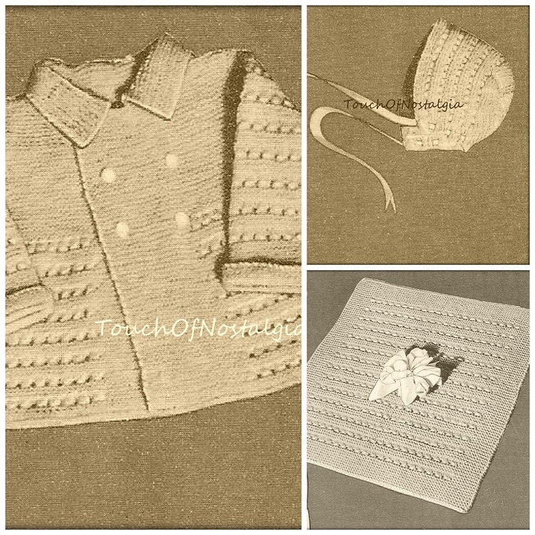 Knitting Pattern Baby Boy Christening : Boy Baby Christening LAYETTE Knitting Pattern LITTLE PRINCE