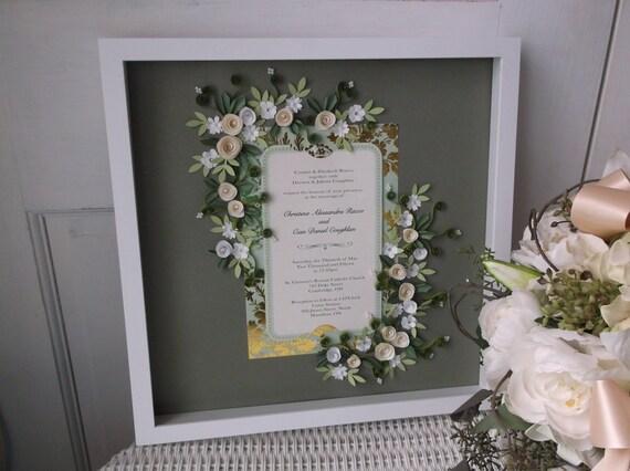 Cream And Gold Wedding Invitations: Cream And Gold Theme Wedding Invitation Framed Keepsake