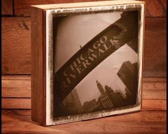 Chicago RiverWalk Sign Reclaimed Wood Block Art Piece