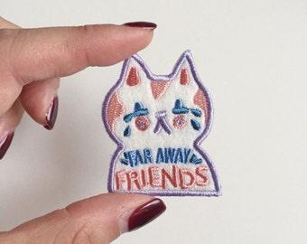 Iron on patch - Far Away Friends - cute cat badge