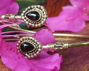 Double Black Onyx Gold Bracelet Tribal Gypsy Festival Boho Jewelry Bangle