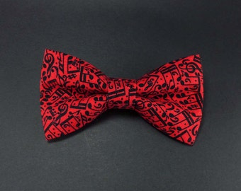 Music notes clip on bow tie – red and black cotton – musician clipon bowtie mens or womens adult size – music lover gift