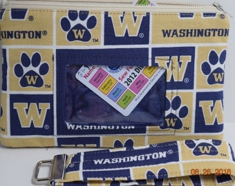 Clutch | ID wristlet | ID Clutch | Cellphone Clutch | Cell Phone Wallet | Credit Card Wallet | Coin Purse| Huskies |UW