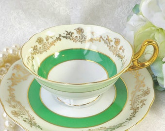 SHAFFORD Vintage  Bone China Teacup and Saucer / Gold and Green / Made in Japan /Hand Decorated