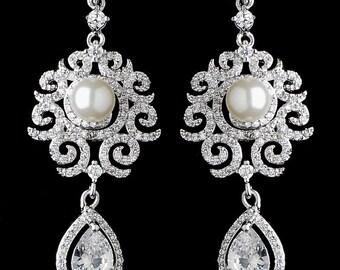 Vintage Style Sparkly Cubic Zirconia And Pearl Dangle Earrings, Wedding Jewelry, Bridal Earrings, Wedding Earrings