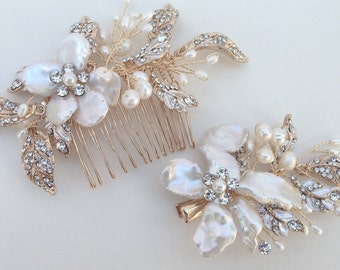 Crystal and Pearl Bridal Hair Comb/Hairclip Set, Wedding Hair Comb, Freshwater Pearl, Crystal Hair Comb, Bridal Headpiece, Bridal Headpiece