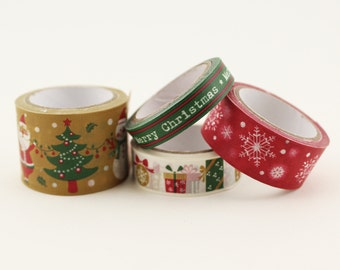 Set of 4 Christmas Washi Tape Skinny Planner Craft Scrapbooking DIY Santa Claus Gift Wrapping Snowflakes Presents Winter Snow Gift Wrap Card