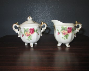 Vintage Hand Painted Individual Porcelain Cream and Sugar