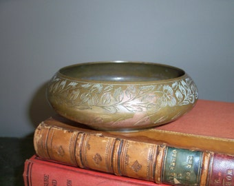Handmade India Brass Etched Bowl
