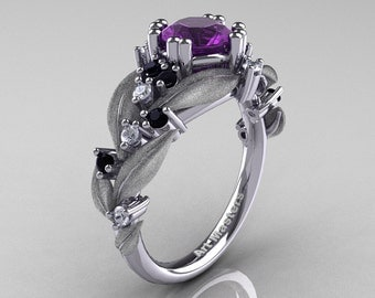 Nature Classic 14K White Gold 1.0 Ct Amethyst Black and White Diamond Leaf and Vine Engagement Ring R340S-14KWGDBDAM