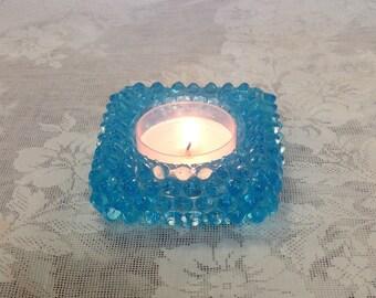 Fenton glass aqua blue hobnail salt cellar votive candle holder tea light candleholder romantic cottage chic retro home decor