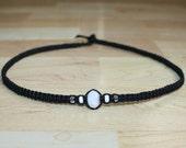 Mens Hemp Necklace Mens Hemp Jewelry Mens Choker Necklace - Black Hemp Choker Necklace White Clear Glass Beads - Husband Gift for Boyfriend