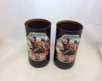 Robinsons Brewery Trooper Beer Glasses (Recycled Bottles) Set of 2